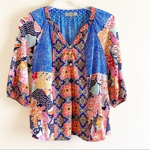 Figueroa & Flower Anthropologie Floral Blouse Sz L